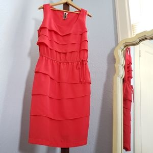 Julian Taylor tiered sleeveless red coral dress
